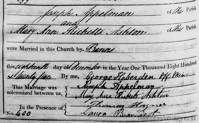 Marriage of Joseph Appelman and Mary Ann Rickets Ashton, 1825
